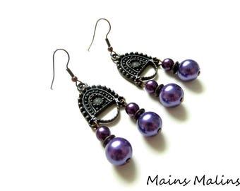 Plum purple double Pearl Earrings