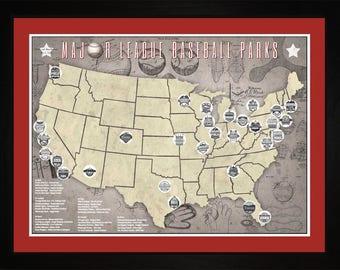 MLB Major League Baseball Parks Stadiums Pro Teams Tracking Map | Print Gift Wall Art TBASE1824-2