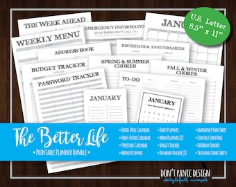 The Better Life Bundle - Rustic Printable Organizing Bundle - Planner, Menu Planner, Password Tracker - Instant Download