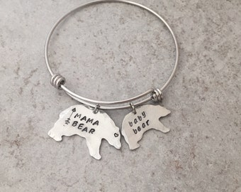 Mama Bear jewelry. Mama Bear Bracelet. Baby Bear. Momma bear. Mothers jewelry. Gift for her. New mom gift. charm bracelet. Mother's day gift