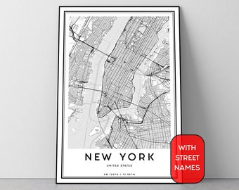 new york map print manhattan map wall art new york street map new york map poster black and white art new york city map digital print