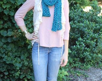Handmade Crocheted Scarf - Teal
