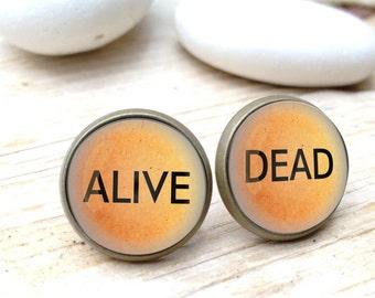 Dead and Alive Earrings, Schrodinger Earrings, Schrodinger's cat, Earrings for scientist, Geeky gift, science earrings, geeky earrings