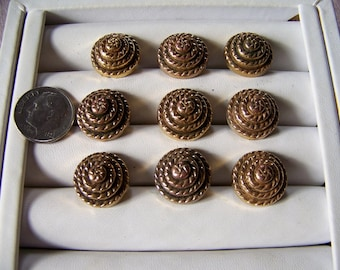 Set of 9 Vintage Plastic Gold Tone Shank Buttons Coiled Rope Design