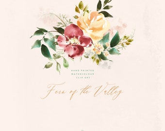 Hand Painted Watercolor Clipart - Fern of the Valley