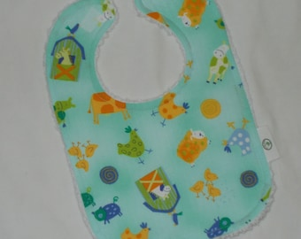 Blue Cow Says Moo Chenille Boutique Bib - SALE