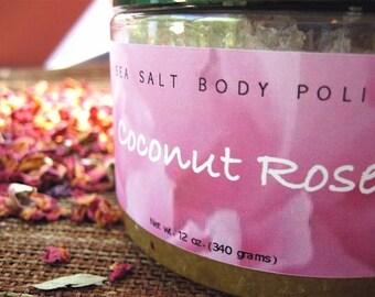 Gommage au sel de mer de noix de coco Rose