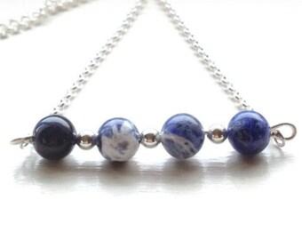 Sodalite Fidget Bracelet/Necklace, Fidget Healing Stone Bracelet, Anxiety Jewelry, Jewelry for Anxiety, Fidget Jewelry for Adults, For Women