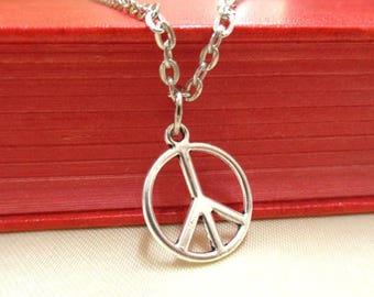 SALE! Silver  Peace Necklace, Peace Sign Necklace, Peace Jewellery, Silver Peace Pendant, Small Gift, Peace Symbol, Hippie Necklace, Boho