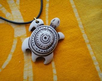 Carved Sea Turtle Pendant Aboriginal Pattern Necklace