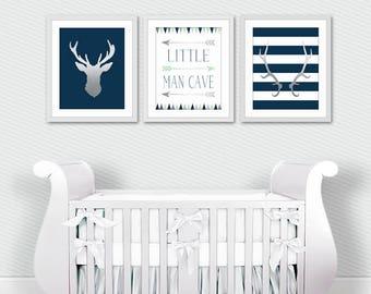 Navy and Silver Woodland Nursery - Boys Nursery Decor - Little Man Cave - Tribal Nursery Art - Three Piece Set - Minimalist Nursery Art