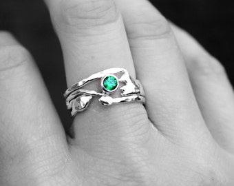 Sterling Silver Emerald Ring, Emerald Green Organic Silver Ring, Recycled Silver Gemstone Ring, Gift Idea, Birthstone Ring,  ClairePearse