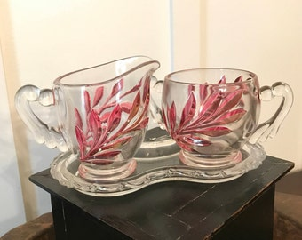 Vintage Sugar Bowl and Creamer Set with Red Cut Glass Leaf Pattern and Figure Eight Tray