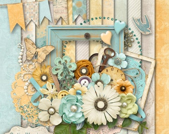 SUMMER GLOW - Digital Scrapbooking Kit - 12 Papers Over 50 Elements -5.00