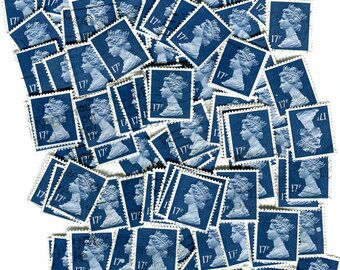 Vintage 17p dark blue used UK postage stamps 1990. Sky sea color azure beryl cobalt indigo navy royal collector paper supply! Scrapbooking!!