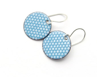 Aqua Blue Earrings with White Polka Dots - Enamel Jewelry - Sterling Silver - Gift for her