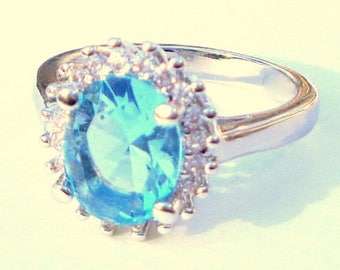 Gorgeous Natural Blue Zircon, Sterling Silver, White Topaz Halo, Engagement, Wedding, Promise Ring