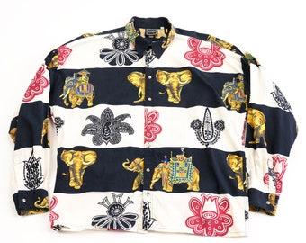 Versace Jeans Couture Elephant print button down shirt 80s vtg vintage