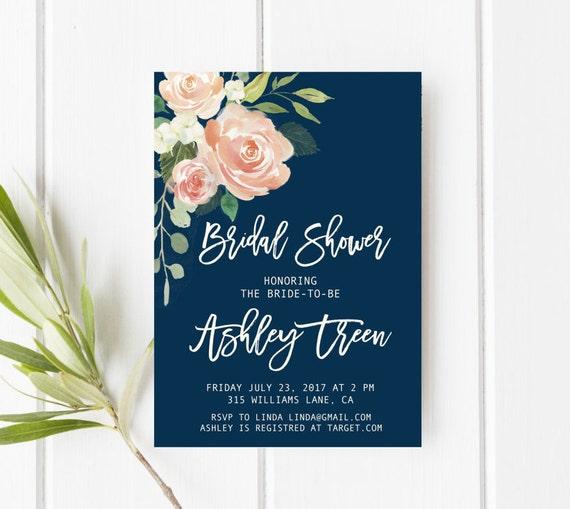 Navy and blush bridal shower invitation peach bridal shower navy and blush bridal shower invitation peach bridal shower invitation floral bridal shower invitation printable bridal shower invitation filmwisefo Choice Image
