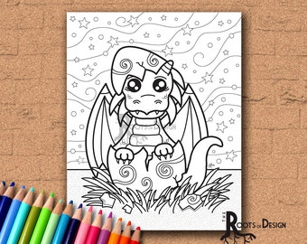 INSTANT DOWNLOAD Coloring Page - Baby Dragon Print, doodle art, printable