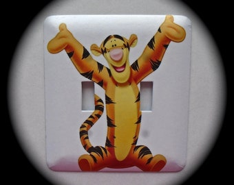 METAL Decorative Double Switch Plate ~ Tiger, Baby, Child, Light Switchplate, Switch Plate Cover, Home Decor