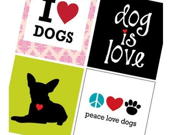 Dog Is Love  - 7/8 (.875) Inch Pendant Images - Digital Sheet - PDF - Buy 2 Get 1 Free