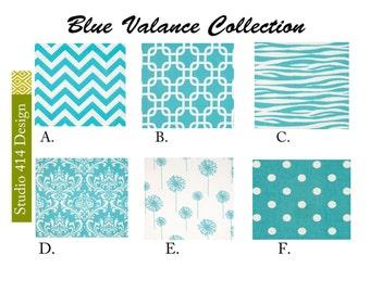 Blue Valance. Light Blue Valence.Blue Window Treatment. Light Blue Drapery . Light Blue Valance window curtain.