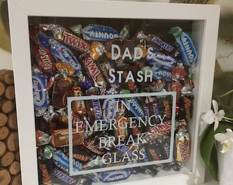 Dads Emergency Chocolate Stash Perfect Fathers Day Gift Shadow Box Frame Personalised Mums