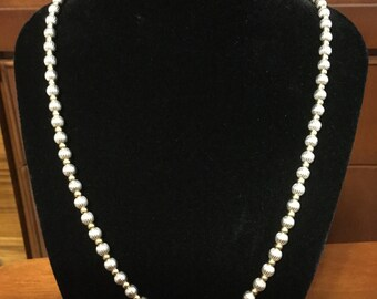 Silver and gold bead necklace and bracelet made in Italy