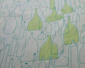 Vintage Vera Scarf, Bottles Print, Abstract Bottles, Midcentury Graphics, Green Blue Square Scarf, Vintage Vera Neumann, 1970s Accessories,
