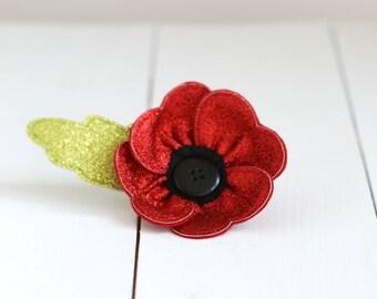 Handmade Red Glitter Poppy Brooch  Remembrance Day - Red Poppy - Birthday Gift - Brooch - Flower Brooch - Handmade Poppy  Brooch