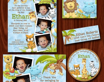 Jungle Safari Zoo Themed Birthday Invitation PRINTABLE Digital File