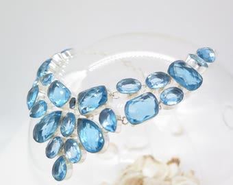 Blue Topaz Quartz Sterling Silver Necklace