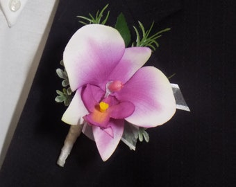 Boutonniere - Artificial Orchid Boutonniere - Phalaenopsis Orchid Boutonniere - Prom Boutonniere - Wedding Boutonniere