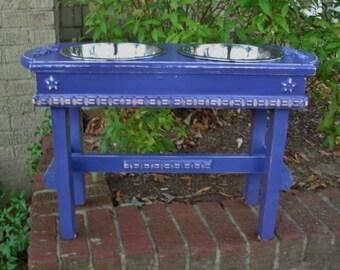 Elevated Pet Feeder, Dog Feeding Stand, Pet Feeding Station, Dog bowls, Purple Eggplant Cottage Chic 2 Two Quart Bowls - Made To Order