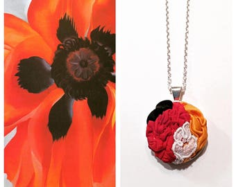 """Georgia O'Keeffe """"Poppies"""" Inspired Textile Pendant Necklace"""