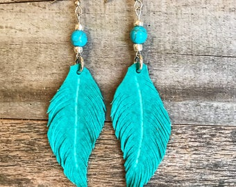 Leather Earrings, Leather Feather Earrings, Leather Feathers, Hand made Leather Earrings, Hand Carved turquoise suede Leather Feathers
