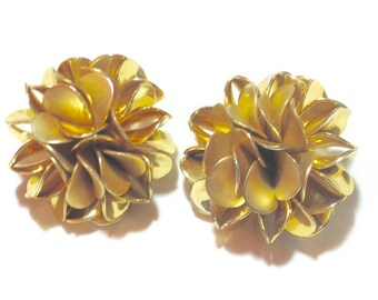 Vintage Large Goldtone Flower Cluster Earrings