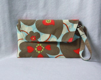 Envelope Clutch with Zipper Closure - Wristlet Clutch - Amy Butler Morning Glory