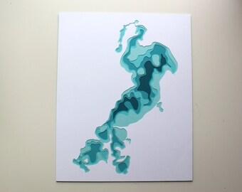 Gull Lake - original 8 x 10 papercut art