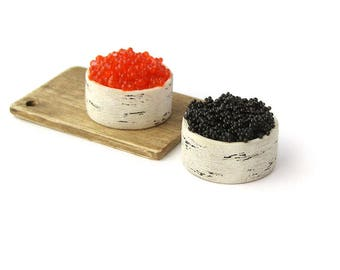Dollhouse Miniatures  tub with black and red caviar 1/12 scale polymer clay food for toy Russian souvenir seafood