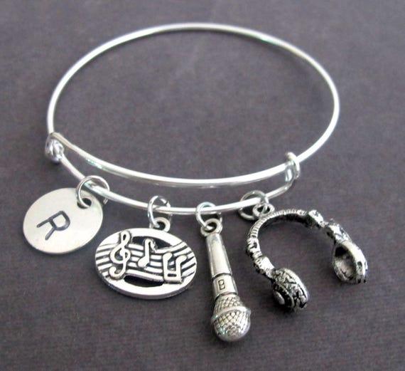 Music Bracelet,Musician Gift,Music Bangle,Headphone bangle, Microphone bracelet,Music Lover Bracelet,Music Teacher Bangle,Free Shipping USA