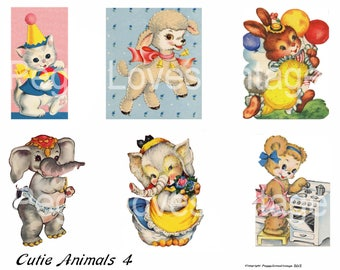 Cutie Animals 4 Digital Collage from Vintage Greeting Cards  - Instant Download - Cut Outs