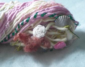 Handspun Art Yarn / Mermaids Garden  / Pink white Fantasy yarn by Fiber Artist GERRY