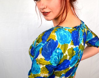Vintage 1950s Watercolor Silk 50s Floral Dress