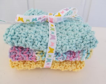 Hand-Knitted Washcloths / Dishcloths - Easter / Spring Blue, Yellow. Lilac - Set of 3 - Bright, Cheerful Fun!  Makes a Great Gift!