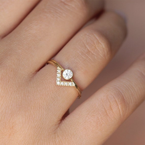 Beautiful Simple Wedding Ring Set Bespoke Engagement Ring Minimalist