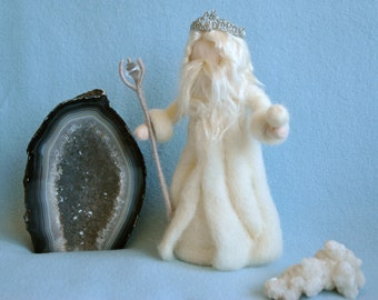 Waldorf inspired Needle felted /Standing doll: King Winter with crown