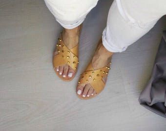 criss cross leather handmade greek sandals with gold studs /in natural tan color /slippers/aelia/sandals /woman shoes