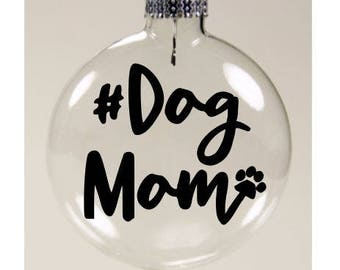 Dog Mom Dog Pet Lover Christmas Ornament Glass Disc Holiday Black Friday Jenuine Crafts